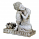 Candle light holder Buddha resting grey