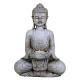 Meditatie Boeddha met kaarshouder steengrijs